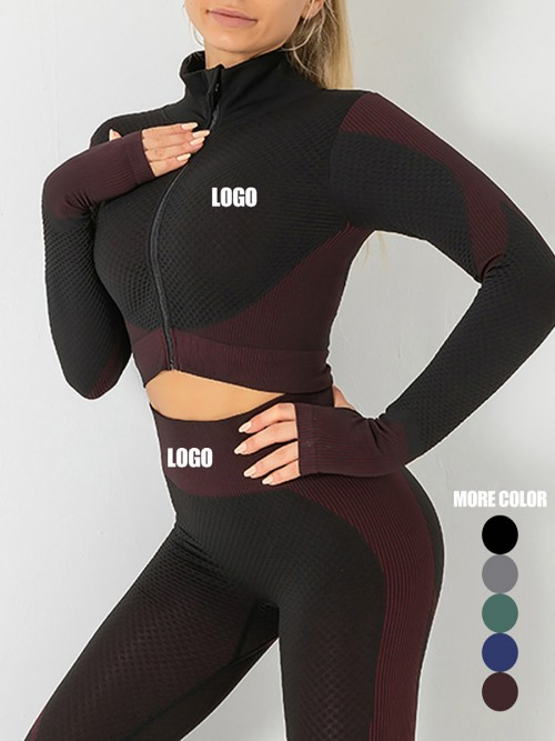 Incredibly Purple Thumbhole Zipper Contrast Color Yoga Suit For Training