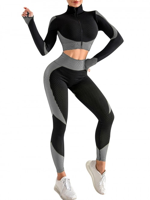 Incredibly Grey Thumbhole Zipper Contrast Color Yoga Suit For Training