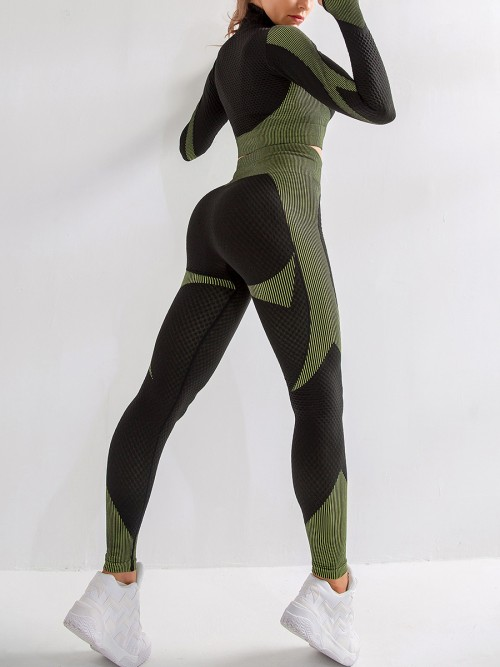Incredibly Army Green Thumbhole Zipper Contrast Color Yoga Suit For Training