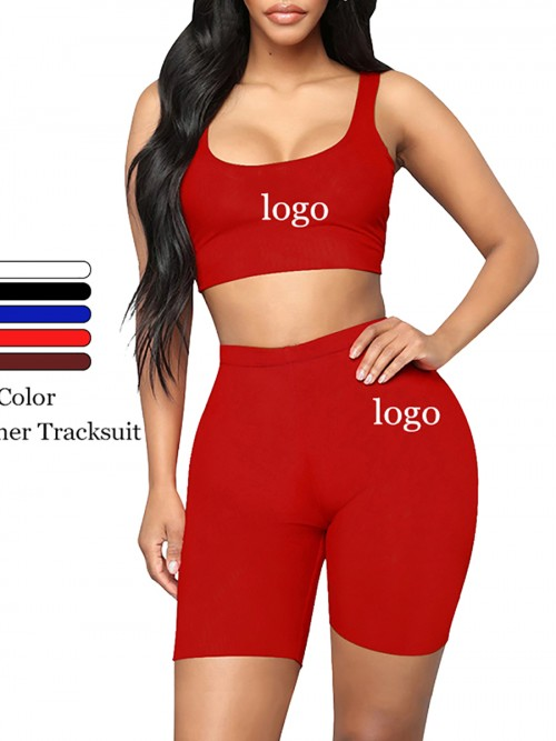 Individualistic Red Training Suits High Waist Scoop Neck