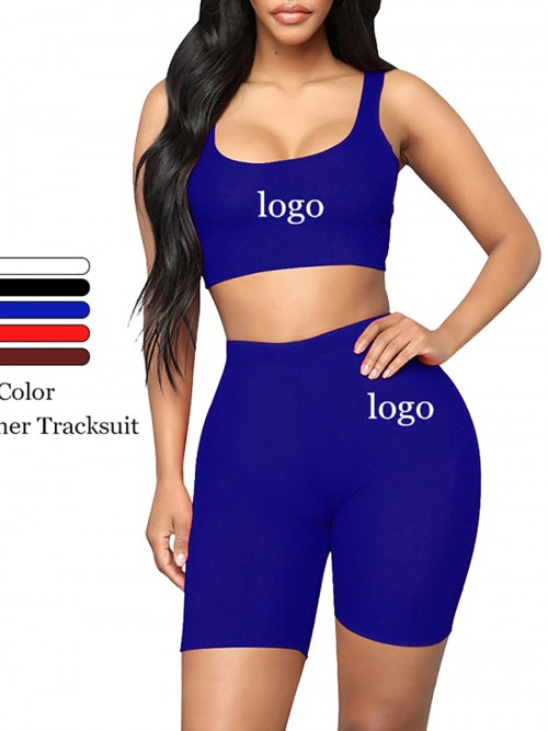 Individualistic Blue Training Suits High Waist Scoop Neck