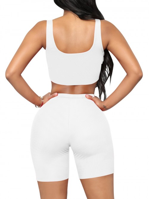 Individualistic White Training Suits High Waist Scoop Neck