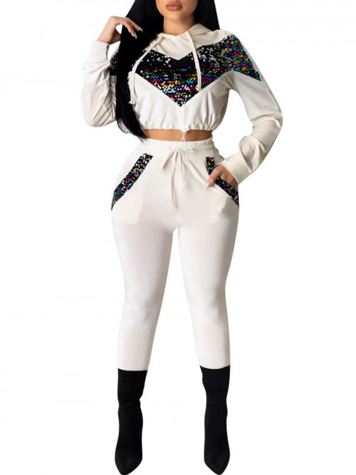 Individualistic White Cropped Sports Suit High Waist Sequin