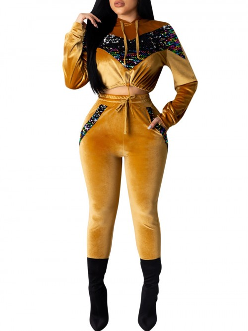 Individualistic Yellow Cropped Sports Suit High Waist Sequin