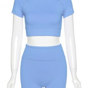 Ingenious Blue Solid Color Crop Top And Yoga Shorts Fashion Style
