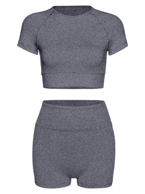 Ingenious Grey Solid Color Crop Top And Yoga Shorts Fashion Style