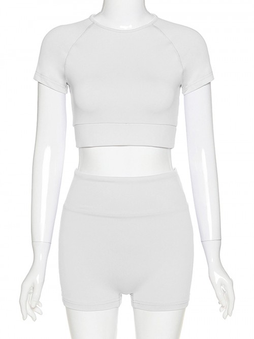 Ingenious White Solid Color Crop Top And Yoga Shorts Fashion Style