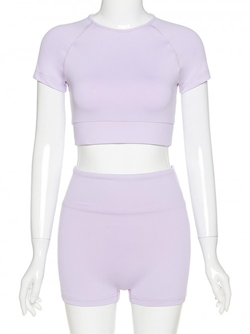 Ingenious Purple Solid Color Crop Top And Yoga Shorts Fashion Style