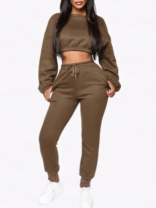 Inspired Brown Cropped Pocket Long Sleeves Sports Suit Good Elasticity