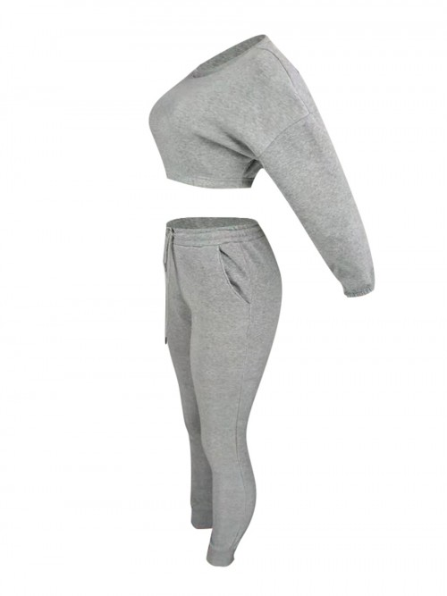 Inspired Grey Cropped Pocket Long Sleeves Sports Suit Good Elasticity