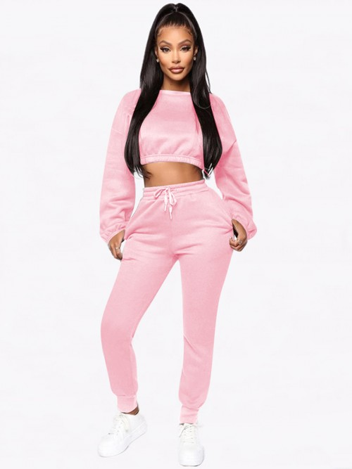 Inspired Pink Cropped Pocket Long Sleeves Sports Suit Good Elasticity