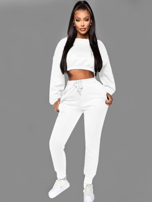 Inspired White Cropped Pocket Long Sleeves Sports Suit Good Elasticity