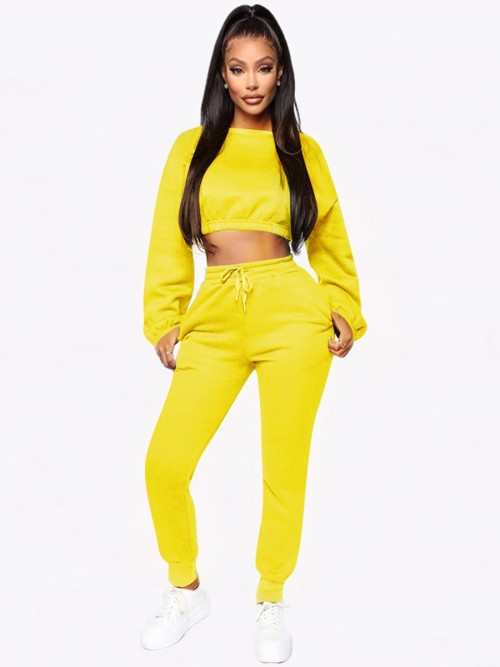 Inspired Yellow Cropped Pocket Long Sleeves Sports Suit Good Elasticity