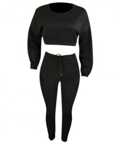 Inspired Black Cropped Pocket Long Sleeves Sports Suit Good Elasticity