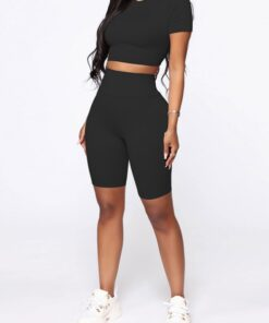 Kinetic Black Solid Color Sweat Suit High Rise For Running