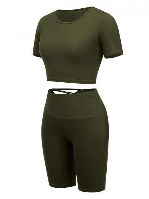 Kinetic Green Solid Color Sweat Suit High Rise For Running