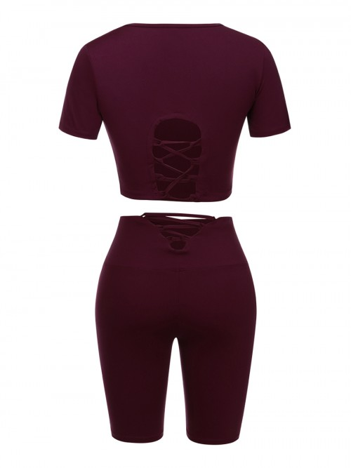 Kinetic Purple Solid Color Sweat Suit High Rise For Running