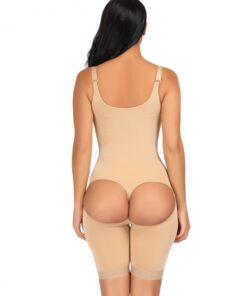 Ladies Nude Big Size Butt Lifting Bodysuit Floral Lace Hem Curve Shaping