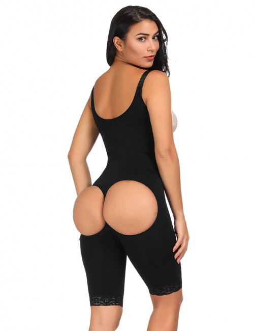 Ladies Black Big Size Butt Lifting Bodysuit Floral Lace Hem Curve Shaping