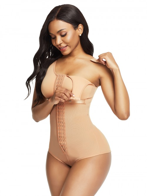 Ladies Skin Color Flat Tummy Front Hook Full Body Shaper Compression
