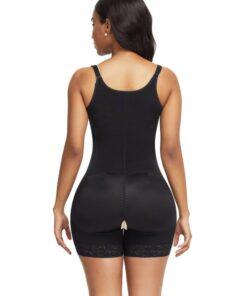 Lightweight Black Full Body Shaper Lace Trim Front Zipper