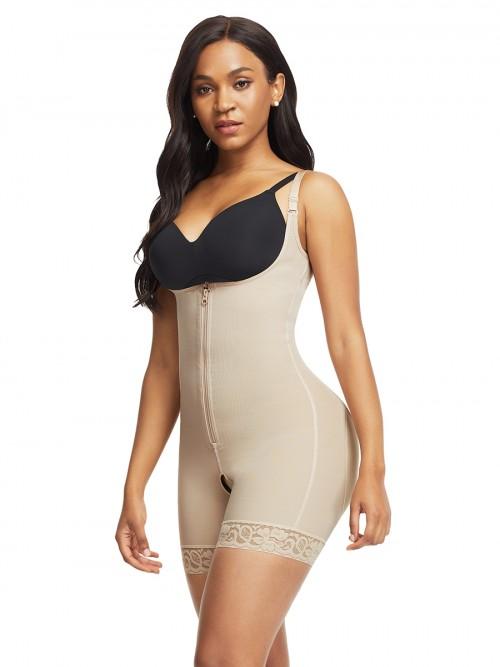 Lightweight Skin Color Full Body Shaper Lace Trim Front Zipper