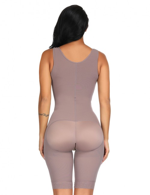 Miracle Brown Queen Size Plain Crotchless Bodysuit Unpadded Figure Sculpting