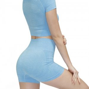 Miracle Light Blue Crew Neck Running Suit Thigh Length Eye Catcher