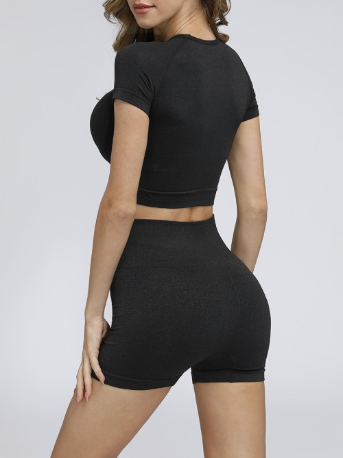 Miracle Black Crew Neck Running Suit Thigh Length Eye Catcher