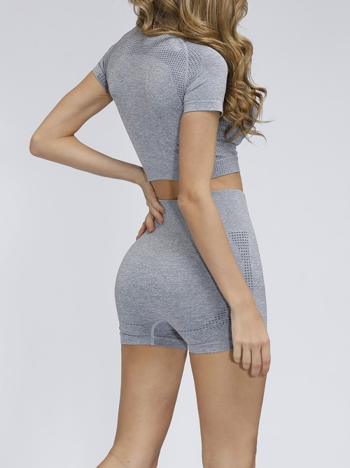 Miracle Grey Crew Neck Running Suit Thigh Length Eye Catcher