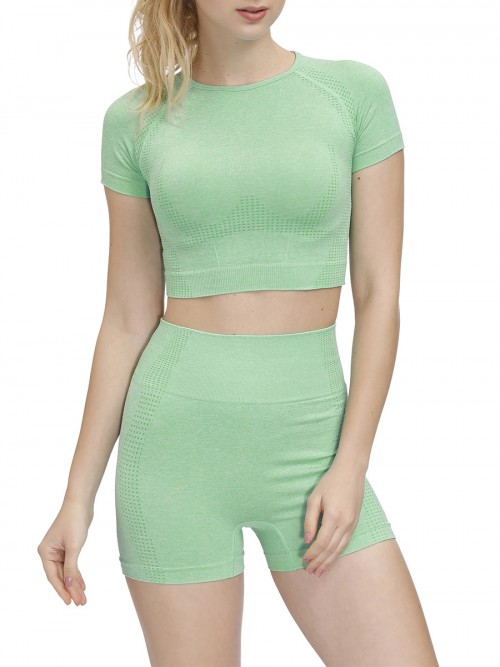 Miracle Green Crew Neck Running Suit Thigh Length Eye Catcher