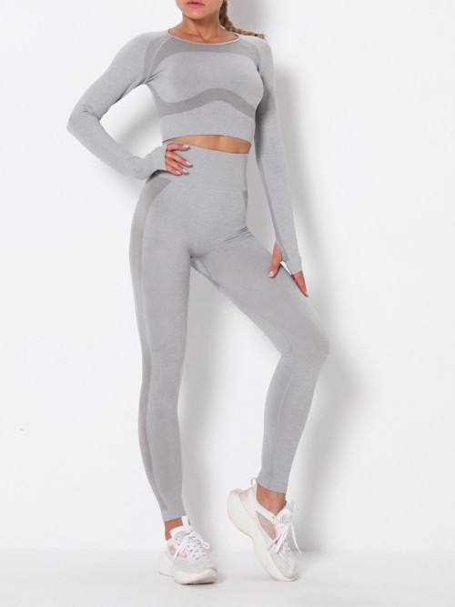 Modern Fit Light Gray Round Collar High Rise Athletic Suit For Runner