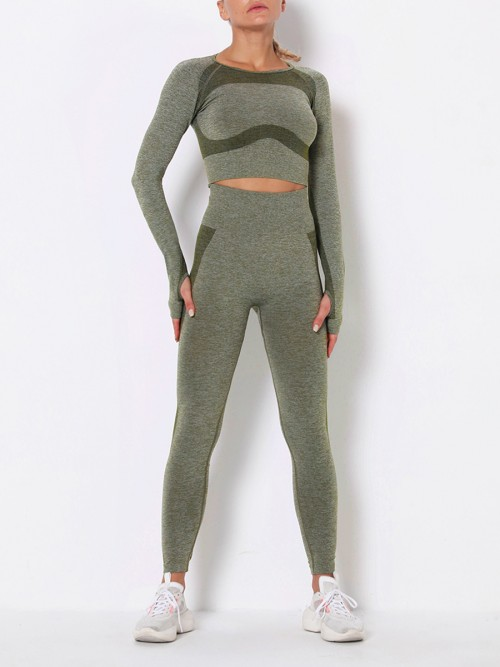 Modern Fit Army Green Round Collar High Rise Athletic Suit For Runner