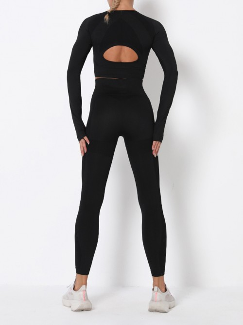 Modern Fit Black Round Collar High Rise Athletic Suit For Runner
