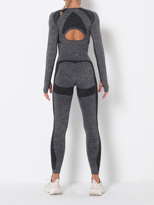Modern Fit Grey Round Collar High Rise Athletic Suit For Runner