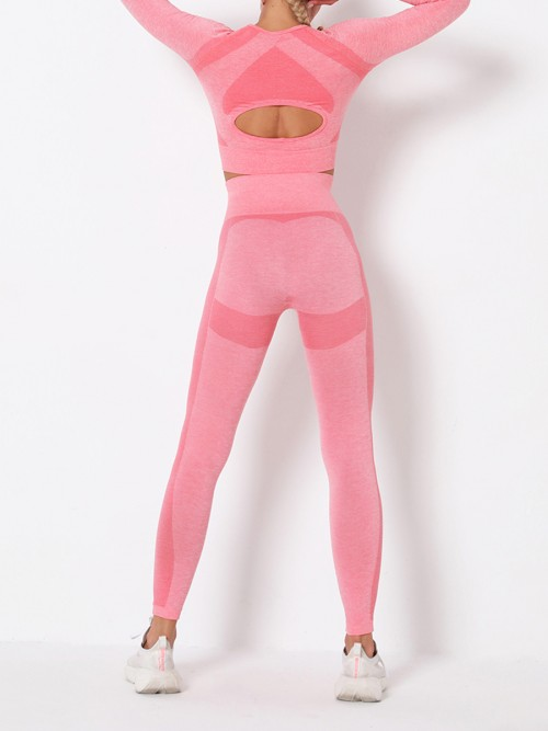 Modern Fit Pink Round Collar High Rise Athletic Suit For Runner