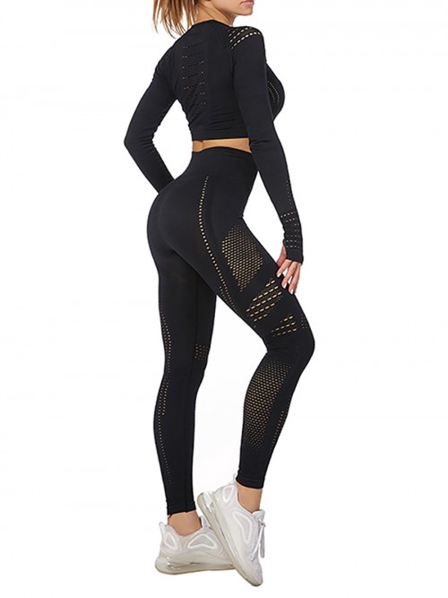 Modern Ladies Wine Black Mesh Sweat Suit High Waist Full Length