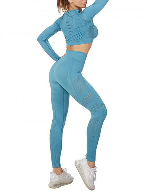 Modern Ladies Wine Blue Mesh Sweat Suit High Waist Full Length