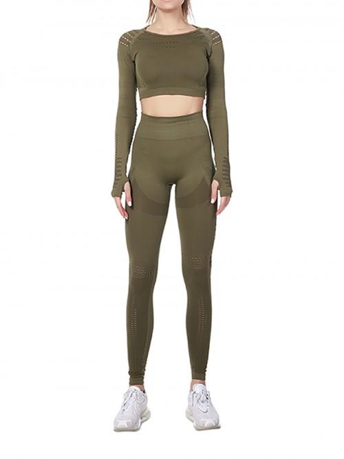 Modern Ladies Wine Green Mesh Sweat Suit High Waist Full Length