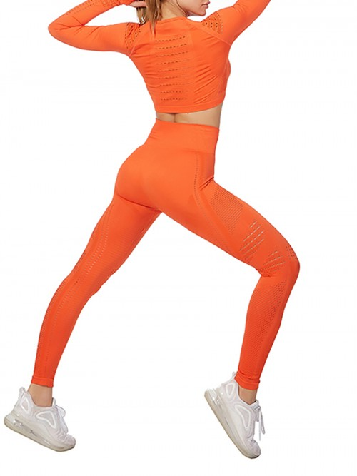 Modern Ladies Wine Orange Mesh Sweat Suit High Waist Full Length