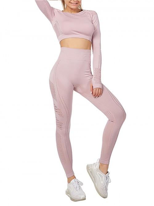 Modern Ladies Wine Pink Mesh Sweat Suit High Waist Full Length