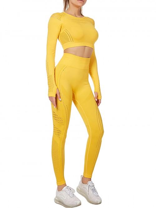 Modern Ladies Wine Yellow Mesh Sweat Suit High Waist Full Length