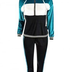Multi-Function Blue Zipper Sweat Suit Drawstring Hooded Superior Comfort