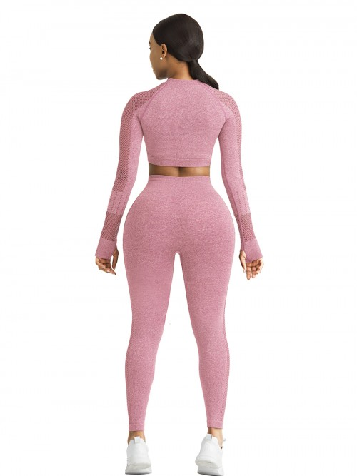 Mystic Pink Sports Top Raglan Sleeve Hollow Out Seamless