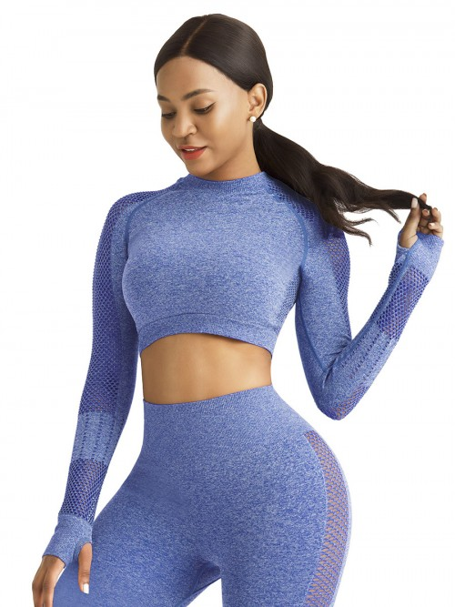Mystic Blue Sports Top Raglan Sleeve Hollow Out Seamless