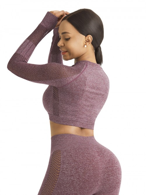 Mystic Wine Red Sports Top Raglan Sleeve Hollow Out Seamless