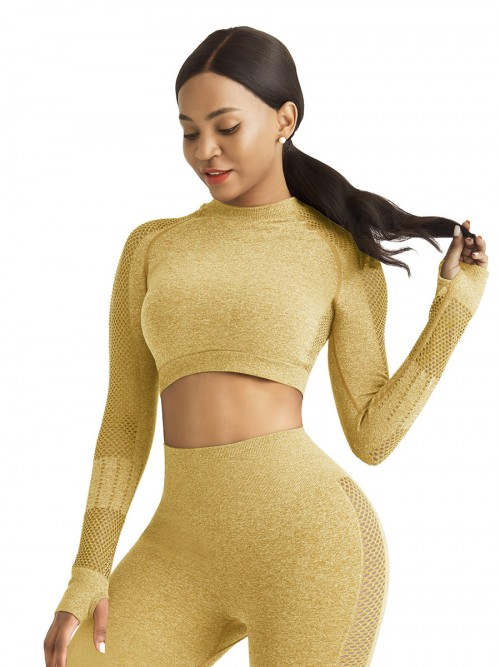 Mystic Yellow Sports Top Raglan Sleeve Hollow Out Seamless