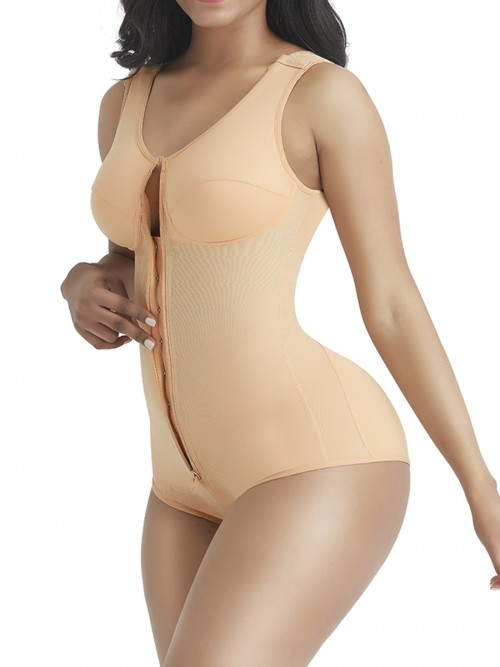 Natural Skin Color 3 Rows Hooks Body Shaper High Cut Wrap Slimmer