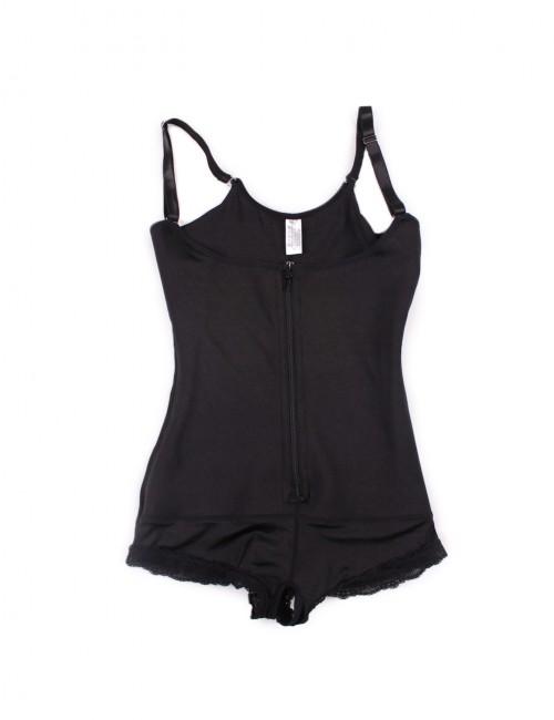 Natural Shaping Black Plus Bodysuit Front Zipper Firm Control