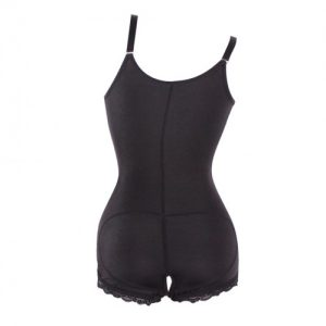 Natural Shaping Black Plus Bodysuit Front Zipper Firm Control